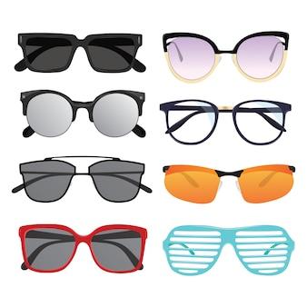 Set di occhiali da sole. collezione di occhiali alla moda. evitare l'esposizione alla luce solare.
