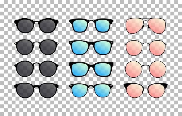 Set di occhiali da sole su sfondo trasparente. occhiali estivi. occhiali sfumati. vettore
