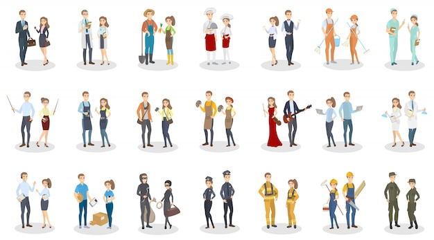 Set di occupazione delle persone. uomini e donne con un lavoro diverso.