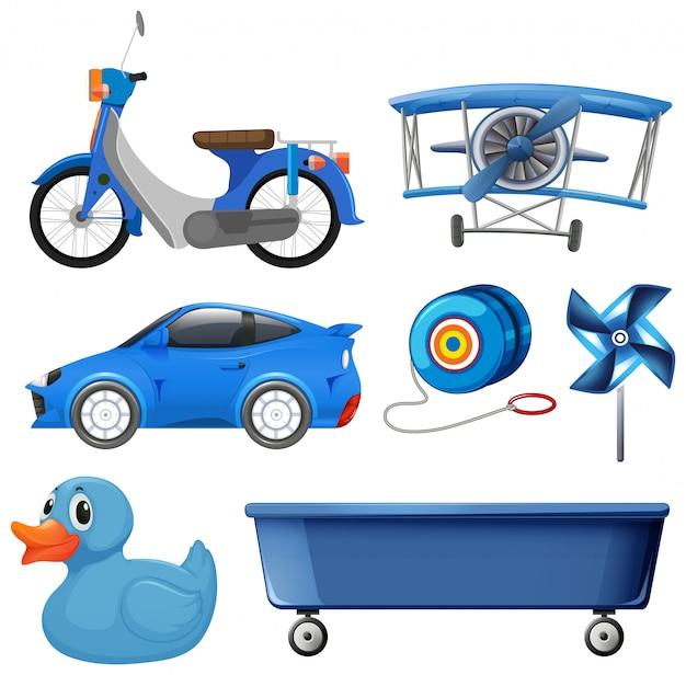 Set di oggetti blu
