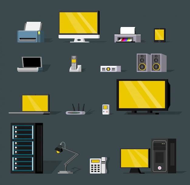Set di oggetti colorati di tecnologia wireless