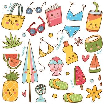 Set di oggetti correlati estate in stile doodle kawaii