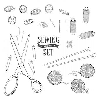 Set di oggetti da cucire in bianco e nero