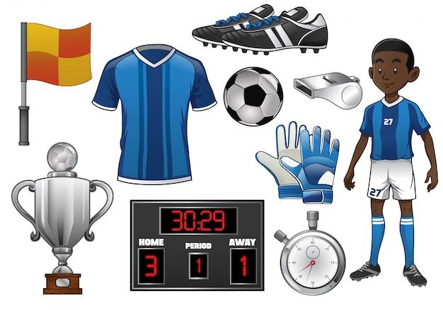 Set di oggetti di calcio