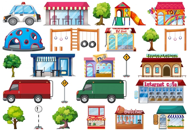 Set di oggetti di città