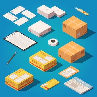 Set di oggetti di consegna postale