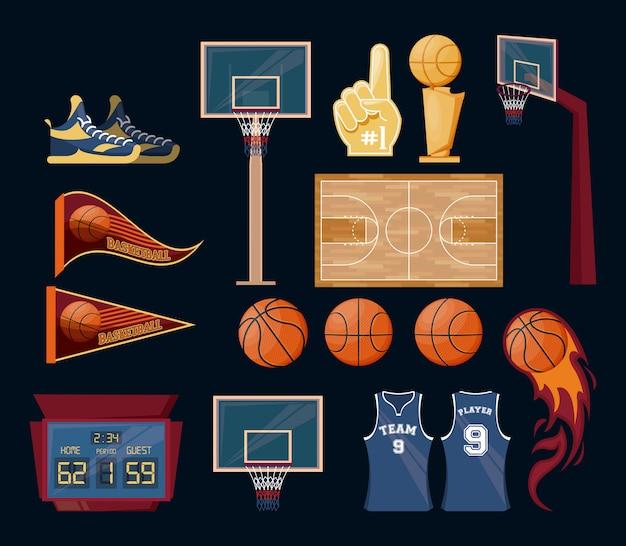 Set di oggetti di gioco di sport di pallacanestro