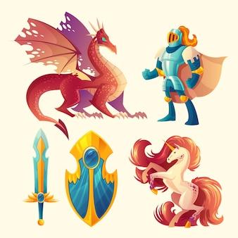 Set di oggetti di gioco fantasy isolato su sfondo bianco.