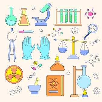 Set di oggetti di laboratorio di scienza