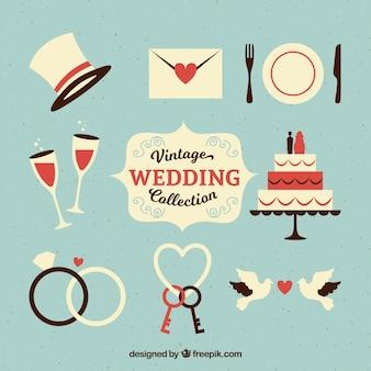 Set di oggetti di nozze d'epoca