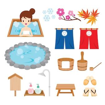 Set di oggetti di primavera calda, onsen giapponese, bagno termale pubblico