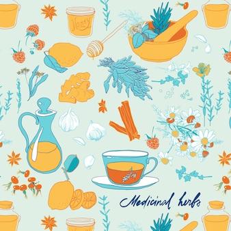 Set di oggetti e erbe per il trattamento di raffreddori. seamless pattern