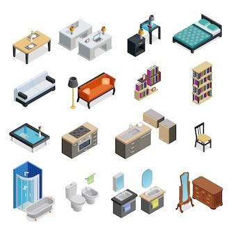 Set di oggetti isometrici interni