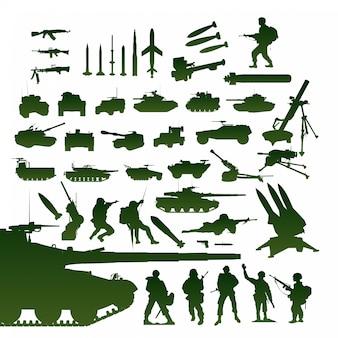 Set di oggetti militari