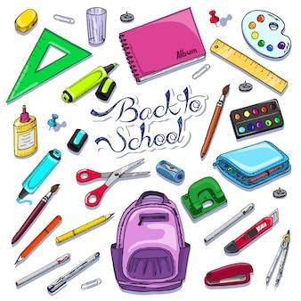 Set di oggetti per la scuola