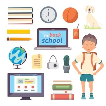 Set di oggetti scolastici isolati. di nuovo alle icone del fumetto della scuola su fondo bianco