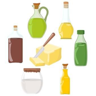 Set di olio, grasso, icona di burro.