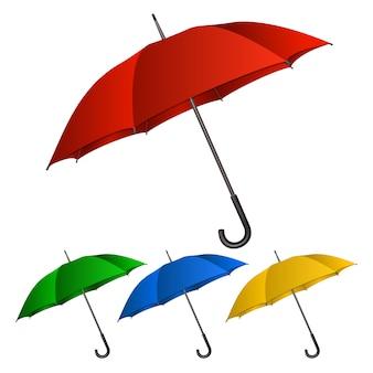 Set di ombrelli su sfondo bianco