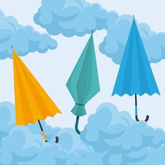 Set di ombrelloni nel cielo