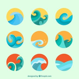 Set di onde in design piatto
