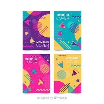 Set di opuscoli colorati in stile memphis