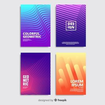 Set di opuscolo linee geometriche colorate