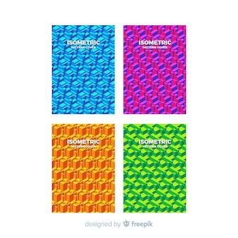 Set di opuscolo modello colorato isometrico