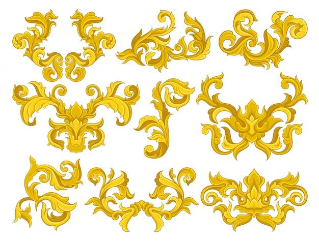 Set di ornamenti barocchi dorati. lussuosi motivi floreali. elementi decorativi per invito o biglietto di auguri