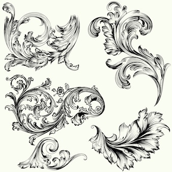 Set di ornamenti decorativi vctor in stile vintage