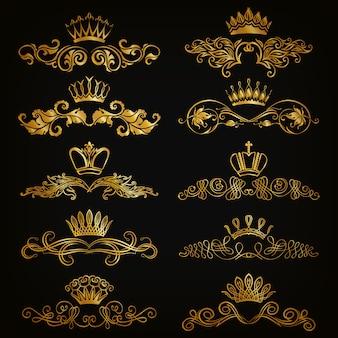 Set di ornamenti di damasco vettoriale.