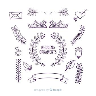 Set di ornamenti di nozze disegnati a mano