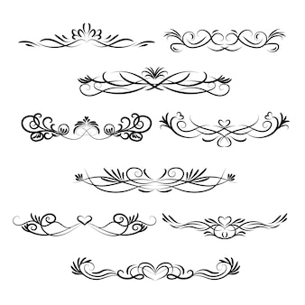 Set di ornamento calligrafico di nozze