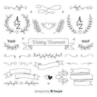 Set di ornamento di nozze disegnati a mano minimalista