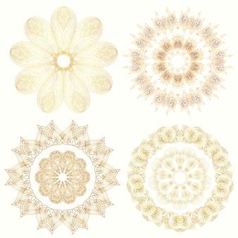Set di ornamento mandala d'oro. elemento decorativo d'epoca