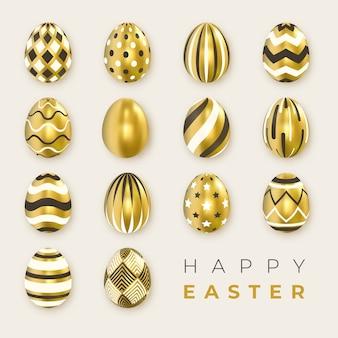 Set di ornato d'oro realistiche uova bianche e nere su sfondo chiaro.