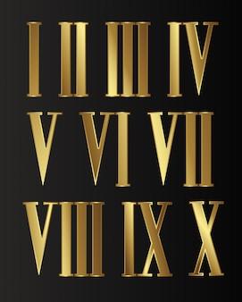 Set di oro, gioielli, numeri romani steampunk isolati con ingranaggi su sfondo nero.
