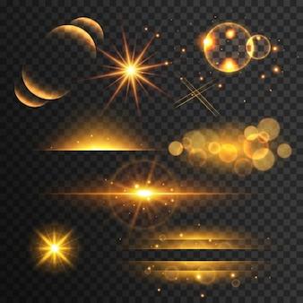 Set di oro luccica luci e brilla con effetto lente su sfondo trasparente