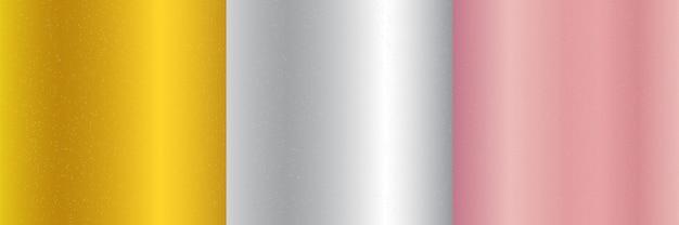 Set di oro metallizzato, rosa, sfondo sfumato argento