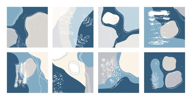Set di otto sfondi astratti. disegnate a mano varie forme e oggetti doodle. illustrazioni alla moda moderne contemporanee.