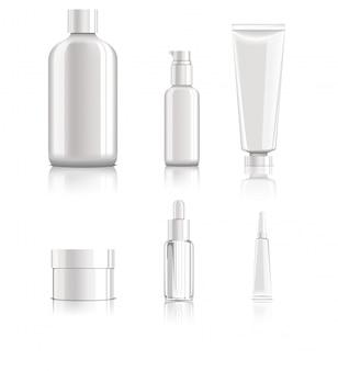 Set di pacchetti cosmetici vuoto realistico