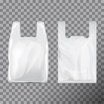 Set di pacchetti di sacchetti di plastica usa e getta. illustrazione sfondo trasparente. modello