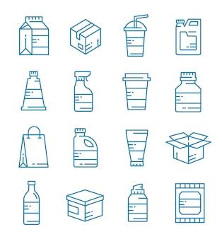 Set di pacchetto, icone di imballaggio con stile di contorno