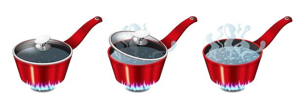 Set di padelle rosse con acqua bollente, coperchio aperto e chiuso