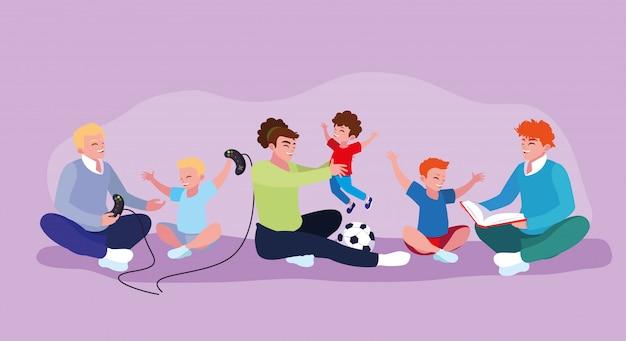 Set di padri che giocano con i figli