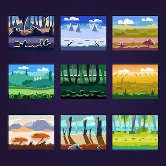 Set di paesaggi di cartone animato senza soluzione di continuità