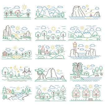 Set di paesaggi di natura color line