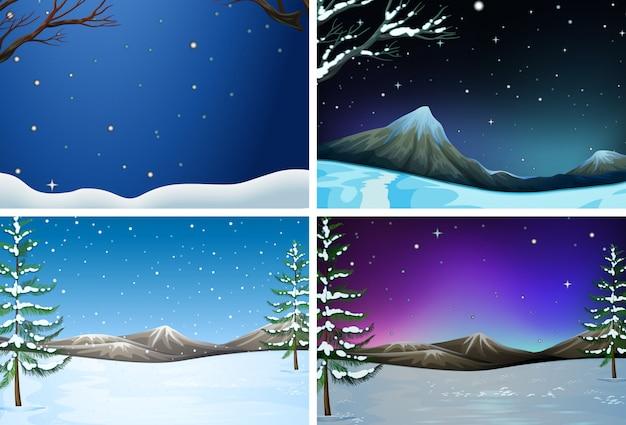 Set di paesaggio invernale