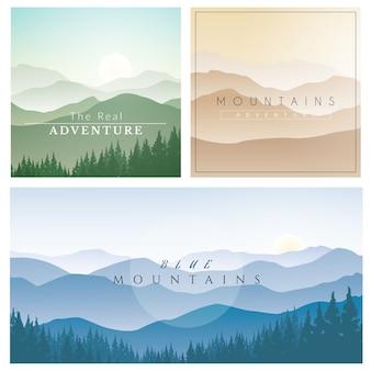 Set di paesaggio montano, sfondo vettoriale con montagne nebbiose