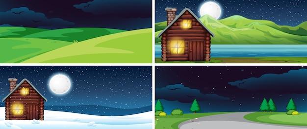 Set di paesaggio naturale di notte