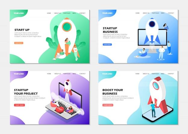 Set di pagina web. avvio aziendale, avvio del progetto, potenziamento del business.